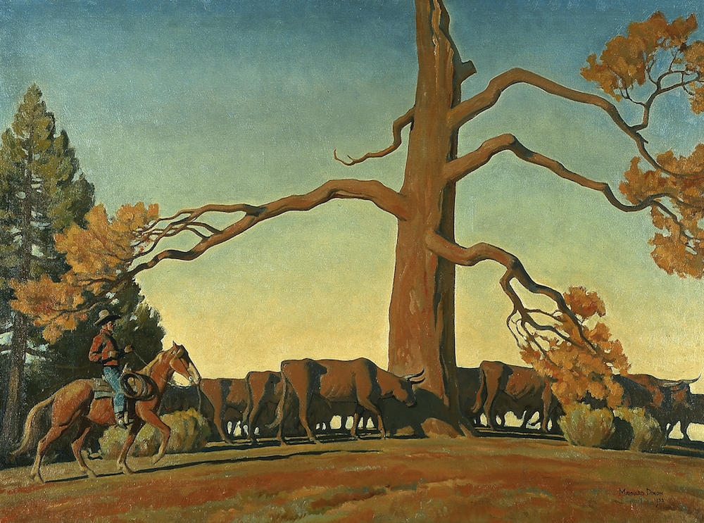 Image of a man on horseback wrangling cattle