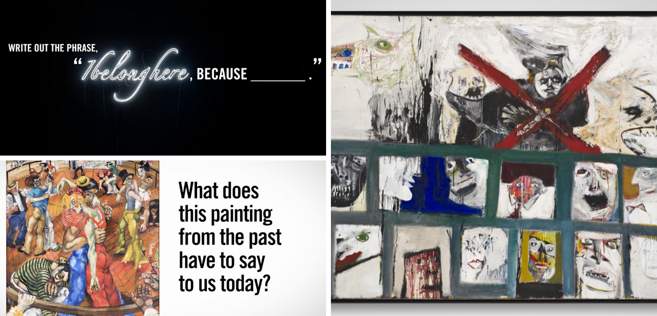 """A grid of 3 images; one says """"What does this painting from the past have to say to us today?"""" with a painting of people in a dance competition, an abstract painting of various different faces, and another saying """"Write out the phrase 'I belong here' because—"""""""