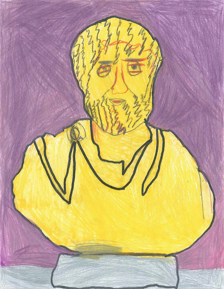 Image of a child's drawing of a yellow bust of a man on a purple background
